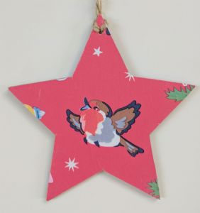 10cm Hanging Star Decoration in Cath Kidston Christmas Red Robin